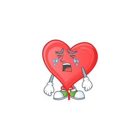 Sad Crying gesture red love balloon cartoon character style. Vector illustration 向量圖像