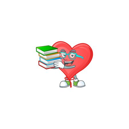 Student with book red love balloon on mascot cartoon character style Vectores