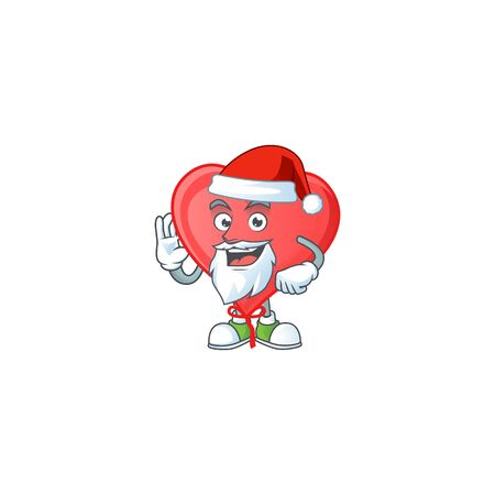 Happy red love balloon in Santa costume mascot style. Vector illustration