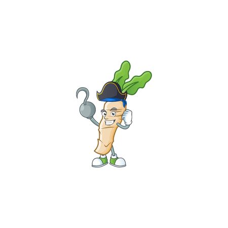 one hand Pirate horseradish cartoon character wearing hat Ilustracja