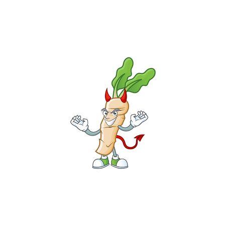 Picture of horseradish as a Devil cartoon mascot. Vector illustration