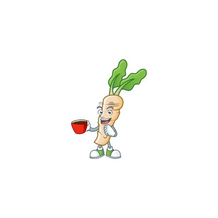 Picture of horseradish character with a cup of coffee. Vector illustration