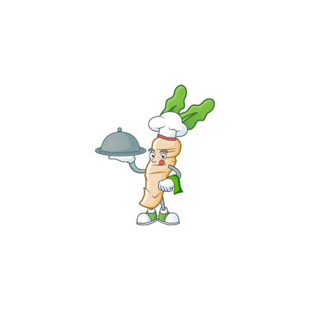 Cute horseradish as a Chef with hat and tray cartoon style design