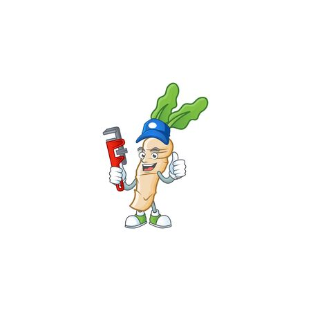 Cool Plumber horseradish cartoon character mascot design