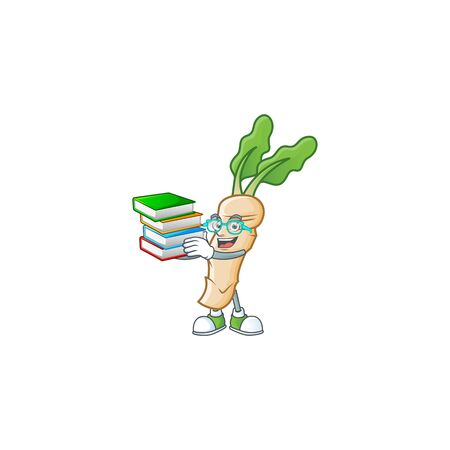 Student with book horseradish on mascot cartoon character style