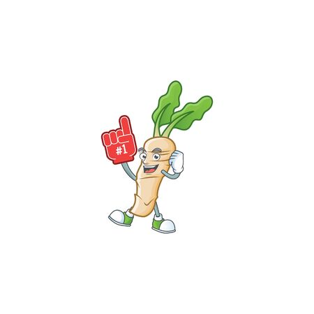 Funny horseradish mascot cartoon style with Foam finger 일러스트