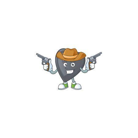 Smiling black love mascot icon as a Cowboy holding guns