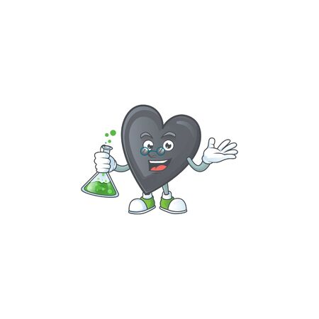 Smart black love cartoon character holding glass tube. Vector illustration Ilustração