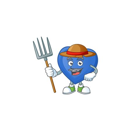 Happy Farmer blue love cartoon mascot with hat and tools. Vector illustration