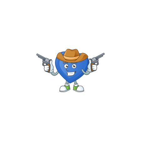 Smiling blue love mascot icon as a Cowboy holding guns. Vector illustration