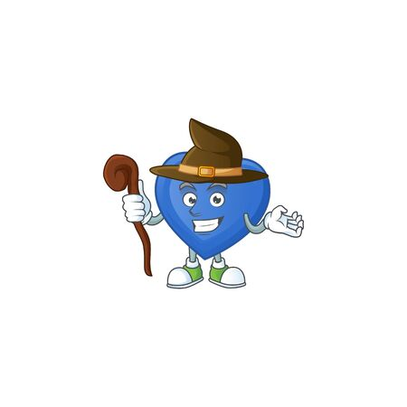 Happy Face Witch blue love cartoon character style. Vector illustration Illustration