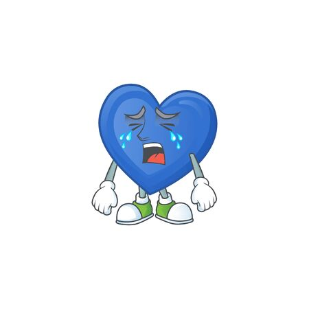 Sad Crying gesture blue love cartoon character style. Vector illustration