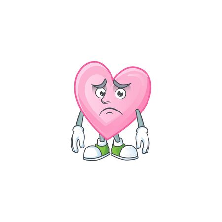 Afraid pink love Cartoon character mascot design