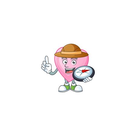 Cool Explorer pink love cartoon character with a compass