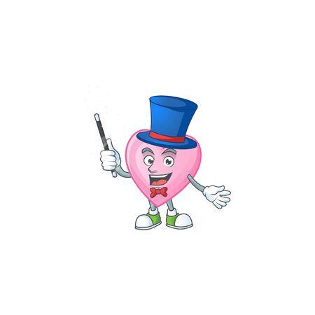 Cartoon character of pink love performance as a Magician Illusztráció