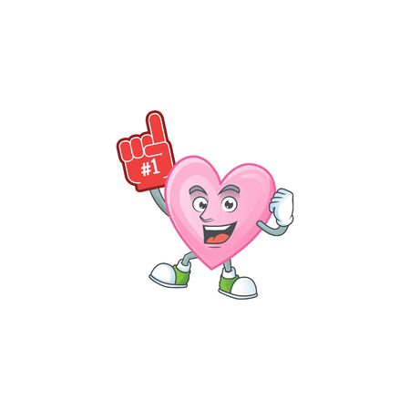 Funny pink love mascot cartoon style with Foam finger