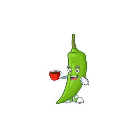 Picture of green chili character with a cup of coffee. Vector illustration