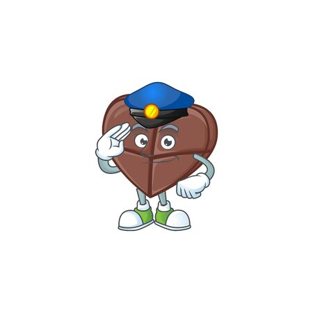 Chocolate bar love Cartoon in character a Police officer costume. Vector illustration