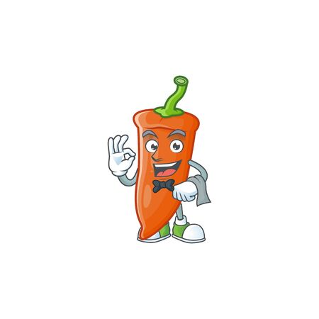 Orange chili cartoon character as a Waiter look. Vector illustration