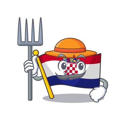 Happy Farmer flag croatia Scroll cartoon character with hat and tools