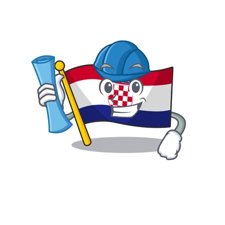 Cheerful Architect flag croatia Scroll with blue prints and blue helmet Vetores