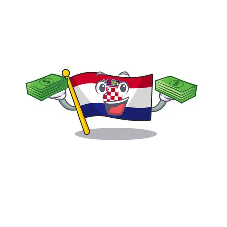 Very happy flag croatia Scroll character with money on hands