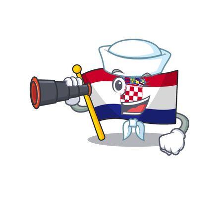 happy Sailor flag croatia Scroll cartoon design with binocular