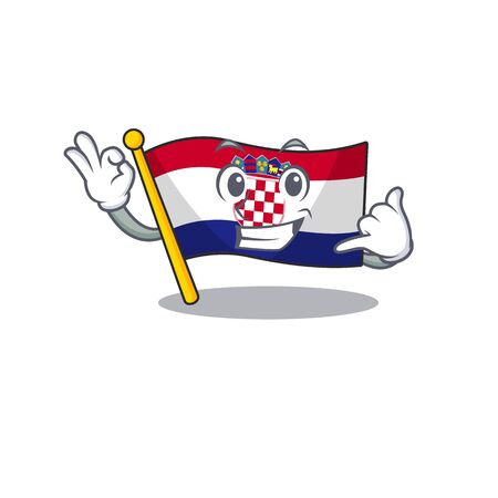 Call me cute face flag croatia Scroll mascot cartoon design Foto de archivo - 136706771