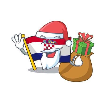 Santa flag croatia Scroll Cartoon character design with box of gift Ilustrace