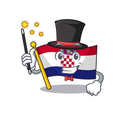 Mascot of flag croatia Scroll performance as a Magician style