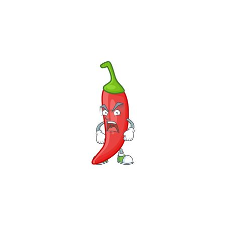 angry face of red chili cartoon character style. Vector illustration