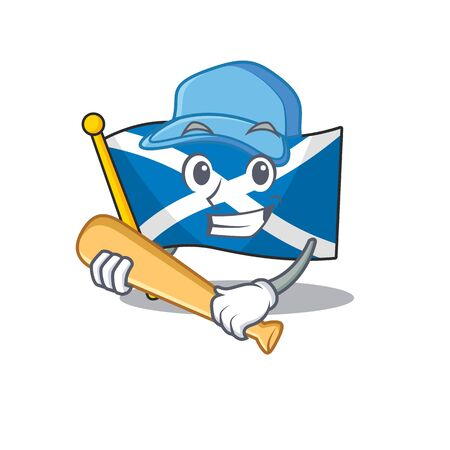Cool flag scotland Scroll cartoon character design with baseball