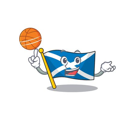 An icon of flag scotland Scroll cartoon character playing basketball Vettoriali