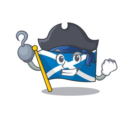 one hand Pirate flag scotland Scroll cartoon style with hat