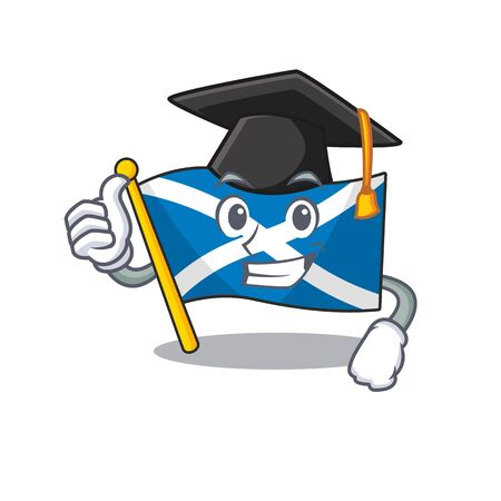 happy flag scotland Scroll wearing a black Graduation hat