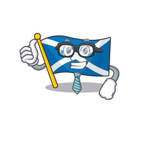 Cool Businessman flag scotland Scroll cartoon character with glasses