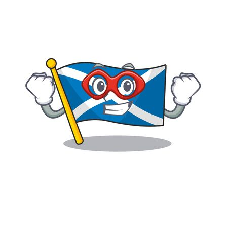 A picture of flag scotland Scroll dressed as a Super hero