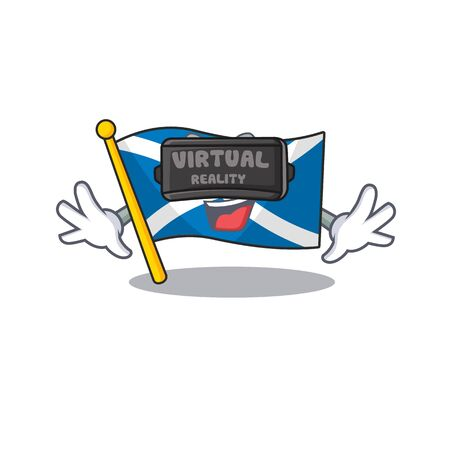 cool flag scotland Scroll character using Virtual reality headset Stock Illustratie