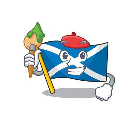 Funny flag scotland Scroll Artist cartoon character holding brush