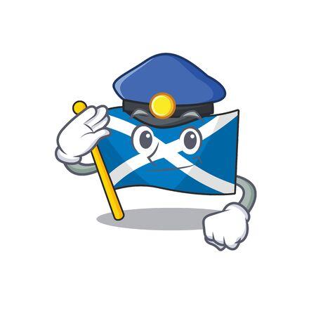 Flag scotland Scroll Cartoon mascot style as a Police officer