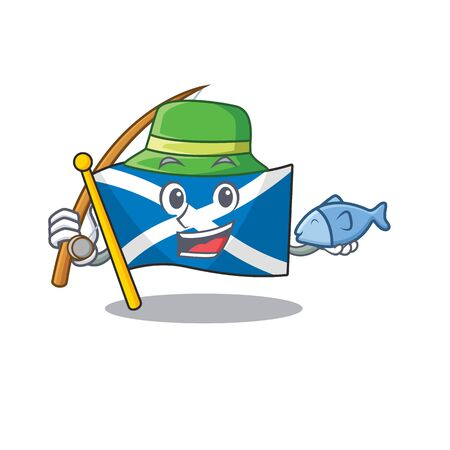 A Picture of funny Fishing flag scotland Scroll design Vectores