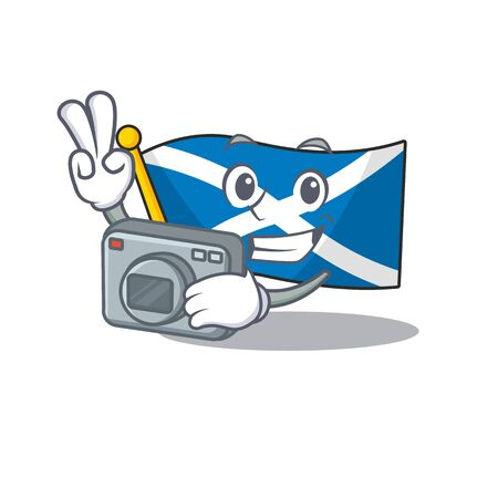 a professional Photographer flag scotland Scroll mascot style with a camera Vectores
