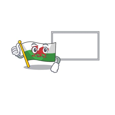cute flag wales Scroll cartoon character Thumbs up with board. Vector illustration