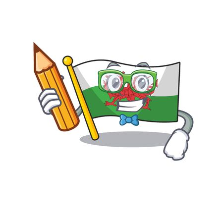 Cool smart Student flag wales Scroll character holding pencil. Vector illustration
