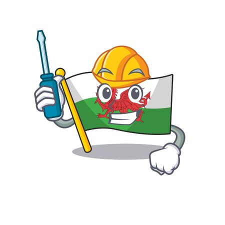 Smart automotive flag wales Scroll presented in cartoon character design. Vector illustration