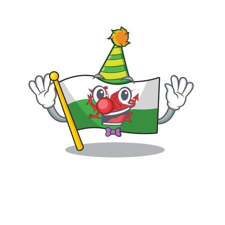 Drapeau de clown mignon et drôle Pays de Galles Style de mascotte de personnage de dessin animé de défilement