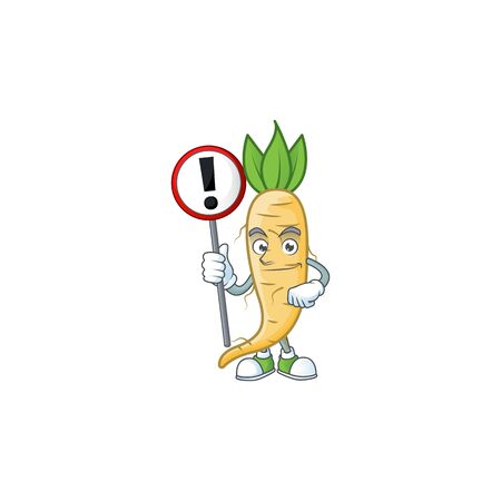 Cartoon mascot of salsify bring sign in his hand. Vector illustration Ilustracja