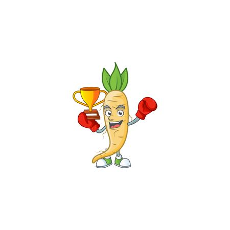Super cool Boxing winner salsify in mascot cartoon style. Vector illustration Ilustracja