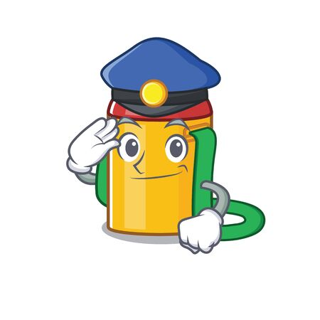 Kids water bottle Scroll Cartoon mascot style as a Police officer. Vector illustration Illustration