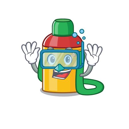 cartoon Mascot featuring kids water bottle Scroll wearing Diving glasses. Vector illustration